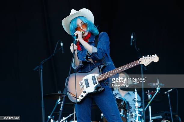 Izzy B Phillips of Black Honey performs at the Queens of the Stone Age and Friends show at Finsbury Park on June 30 2018 in London England