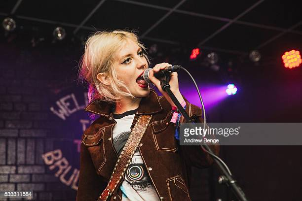 Izzy Baxter of Black Honey performs on stage during Gold Sounds Festival 2016 at Brudenell Social Club on May 21 2016 in Leeds England
