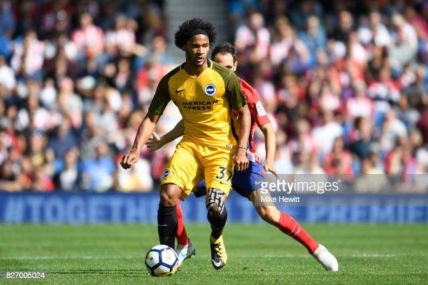 Izzy Brown of Brighton in action during a Pre Season Friendly between Brighton Hove Albion and Atletico Madrid at Amex Stadium on August 6 2017 in...