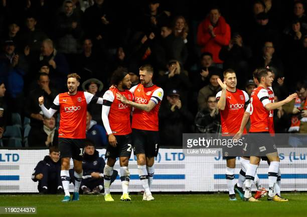 Izzy Brown of Luton Town celebrates scoring his teams 2nd goal of the game during the Sky Bet Championship match between Luton Town and Charlton...