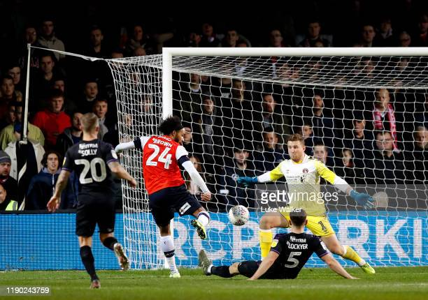 Izzy Brown of Luton Town scores his teams 2nd goal of the game during the Sky Bet Championship match between Luton Town and Charlton Athletic at...