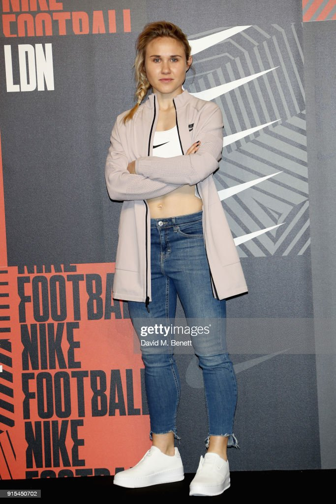 Izzy Christiansen attends in celebration of the 20th anniversary of Nike's most iconic football boot, some of the world's best footballers arrive in South London to debut its latest versions, the Mercurial Superfly and Vapor 360 at The Printworks on February 7, 2018 in London, England.