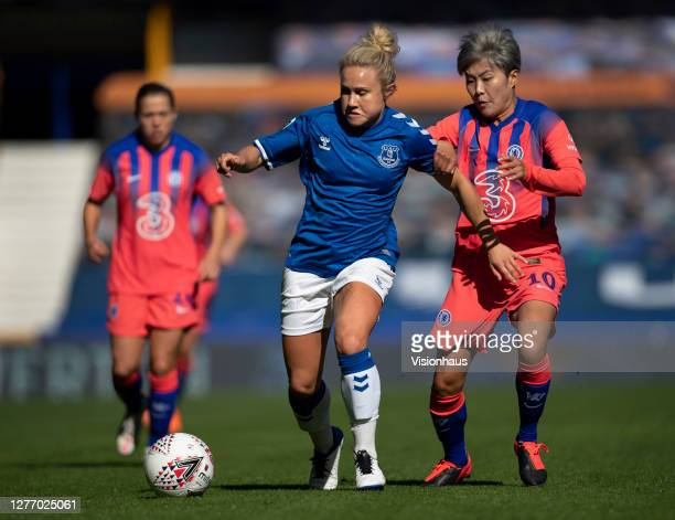 Izzy Christiansen of Everton and Ji SoYun of Chelsea in action during the Womens FA Cup Quarter Final match between Everton FC and Chelsea FC at...