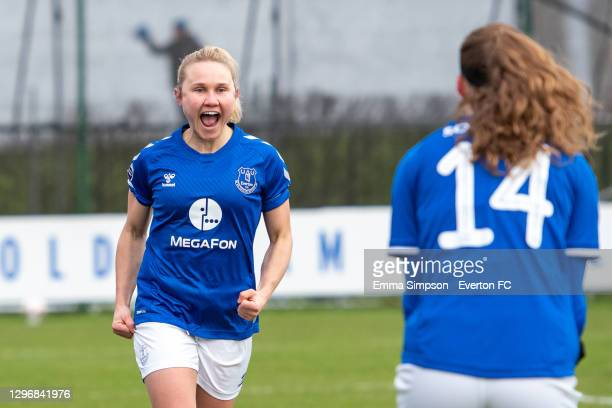 Izzy Christiansen of Everton celebrates scoring her teams first goal during the Barclays FA Women's Super League match between Everton Women and...