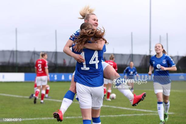 Izzy Christiansen of Everton celebrates with teammate Nicoline Soerensen after scoring their team's first goal during the Barclays FA Women's Super...