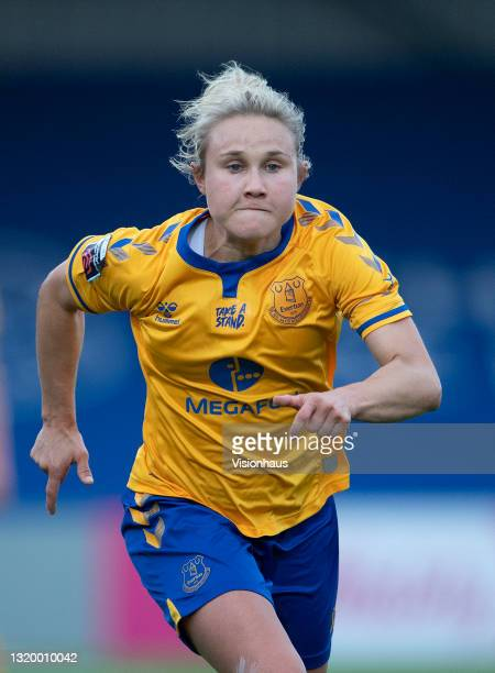 Izzy Christiansen of Everton during the Vitality Women's FA Cup 5th Round match between Chelsea and Everton at Kingsmeadow on May 20, 2021 in...