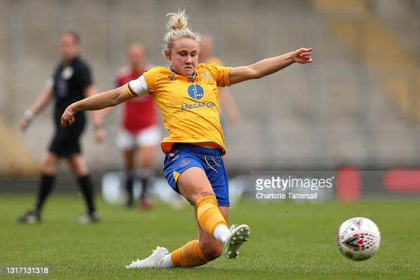 Izzy Christiansen of Everton in action during the Barclays FA Women's Super League match between Manchester United Women and Everton Women at Leigh...