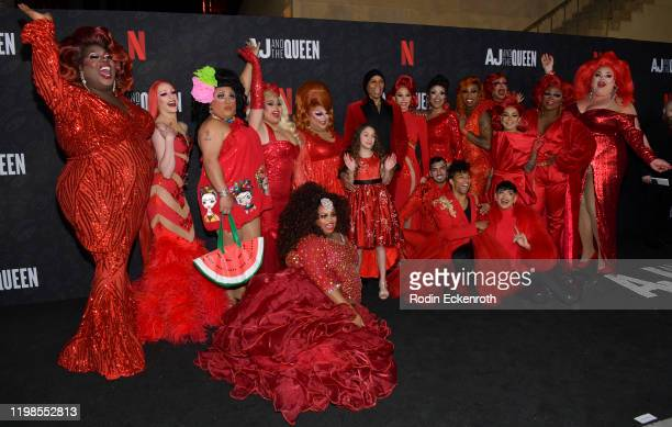Izzy G and RuPaul and RuPaul's Drag Race Queens attend the Premiere of Netflix's AJ and the Queen Season 1 at the Egyptian Theatre on January 09 2020...