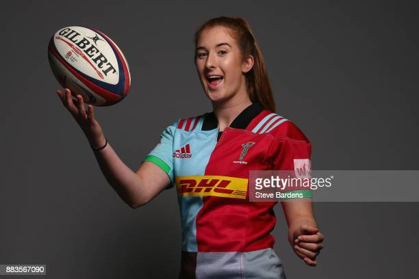 Izzy Mayhew poses for a portrait during the Harlequins Ladies Squad Photo call for the 2017/18 Tyrrells Premier 15s Season at Surrey Sports Park on...