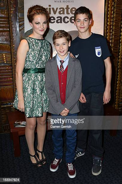 Izzy MeikleSmall Sam Bottomley and Hero Fiennes Tiffin attend the premiere of 'Private Peaceful' at the Curzon Mayfair on October 3 2012 in London...