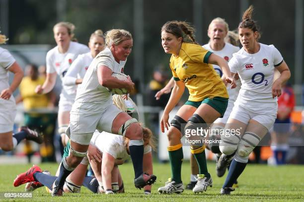 Izzy NoelSmith of England makes a break during the Women's International Test match between the Australian Wallaroos and the England Roses at Porirua...