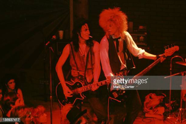 Izzy Stradlin and Duff McKagan of the rock band Guns n' Roses perform onstage at the Troubadour where they played Rocket Queen for the first time on...