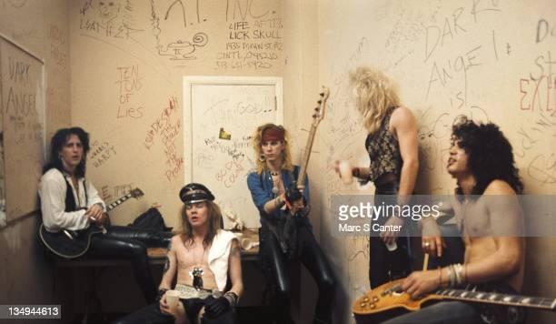 Izzy Stradlin Axl Rose Duff McKagan Steven Adler and Slash of the rock group 'Guns n' Roses' pose for a portrait backstage at Fenders Ballroom on...