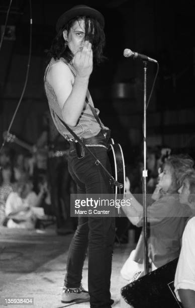 Izzy Stradlin of the rock band Guns n' Roses performs onstage at the Troubadour where they played Rocket Queen for the first time on September 20...
