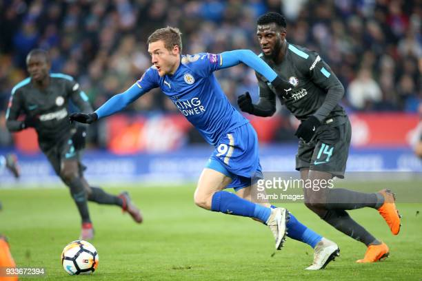 Ja ie Vardy of Leicester City in action with Tiemoue Bakayoko of Chelsea during The Emirates FA Cup Quarter Final tie between Leicester City and...