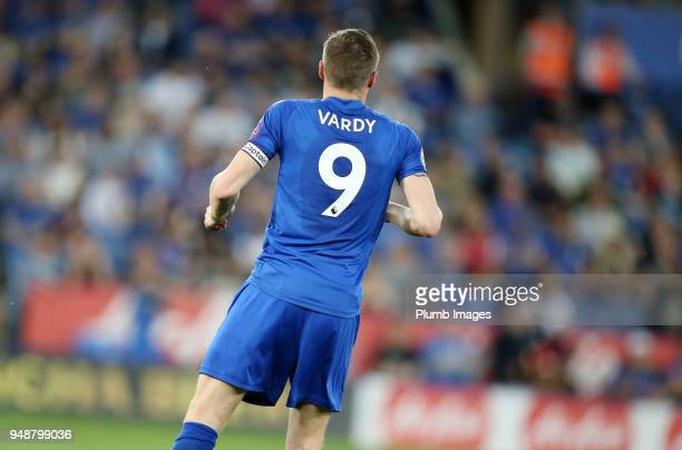 Ja ie Vardy of Leicester City wears the captain armband during the Premier League match between Leicester City and Southampton at King Power Stadium...
