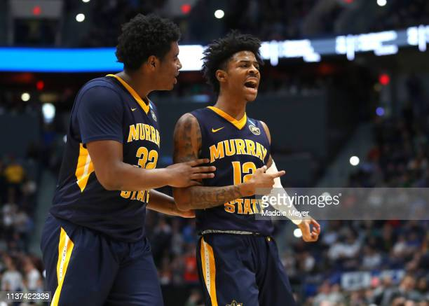 Ja Morant and Darnell Cowart of the Murray State Racers celebrate at the end of the first half during their first round game of the 2019 NCAA Men's...