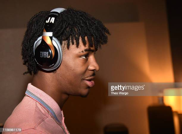 Ja Morant debuts a new pair of custom JBL headphones at JBL FullCourt Press an exclusive panel discussion with professional basketball players and...