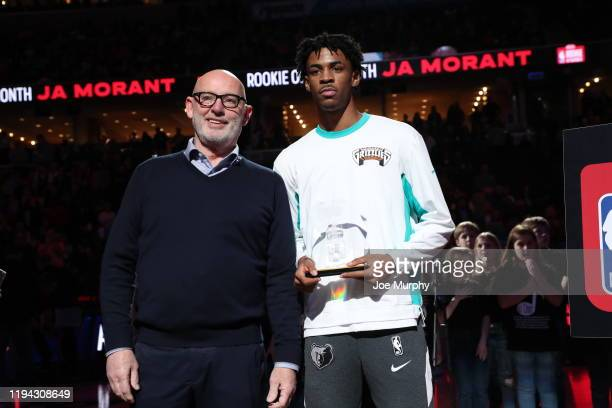 Ja Morant of the Memphis Grizzlies accepts the Kia Awards for Rookie of the Month before the game on January 17 2020 at FedExForum in Memphis...