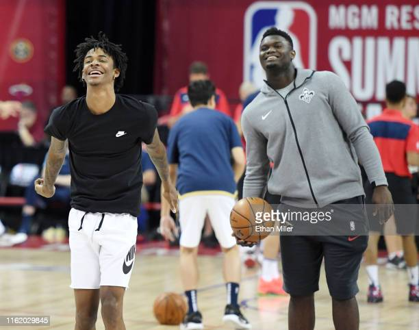 Ja Morant of the Memphis Grizzlies and Zion Williamson of the New Orleans Pelicans shoot during warmups before a semifinal game of the 2019 NBA...