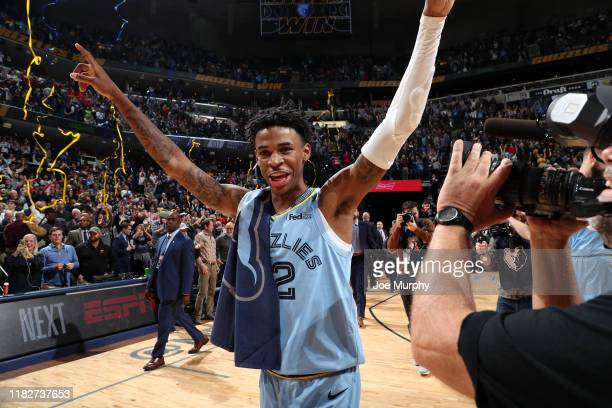 Ja Morant of the Memphis Grizzlies celebrates after the game against the Utah Jazz on November 15 2019 at FedExForum in Memphis Tennessee NOTE TO...