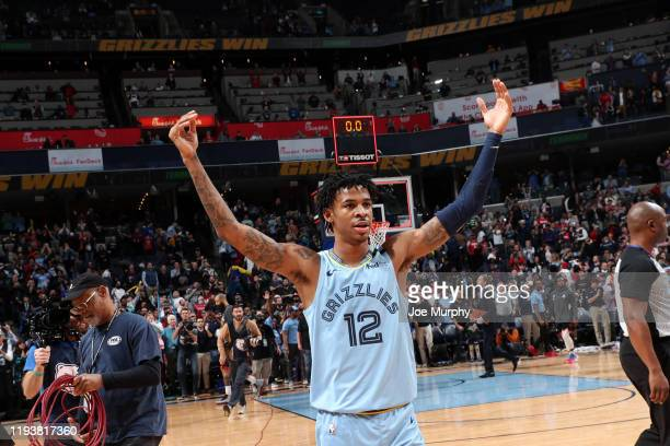 Ja Morant of the Memphis Grizzlies celebrates after the game against the Houston Rockets on January 14 2020 at FedExForum in Memphis Tennessee NOTE...
