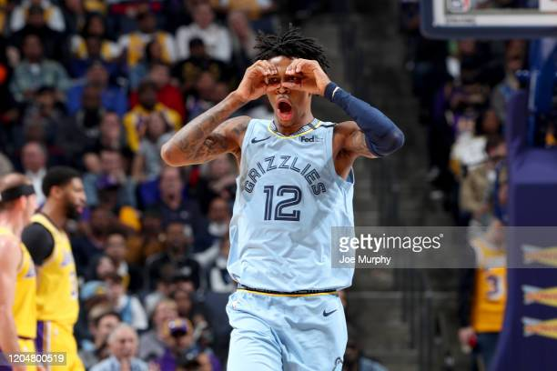 Ja Morant of the Memphis Grizzlies celebrates during the game against the Los Angeles Lakers on February 29 2020 at FedEx Forum in Memphis Tennessee...