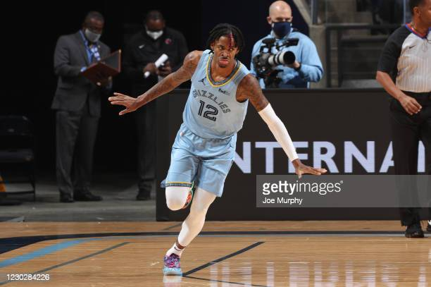 Ja Morant of the Memphis Grizzlies celebrates during the game against the San Antonio Spurs on December 23, 2020 at FedExForum in Memphis, Tennessee....