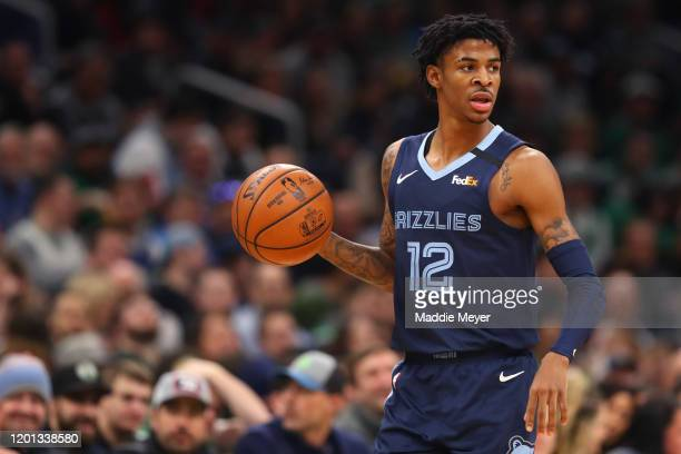 Ja Morant of the Memphis Grizzlies dribbles against the Boston Celtics at TD Garden on January 22 2020 in Boston Massachusetts The Celtics defeat the...