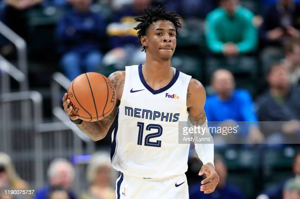 Ja Morant of the Memphis Grizzlies dribbles the ball against the Indiana Pacers at Bankers Life Fieldhouse on November 25 2019 in Indianapolis...