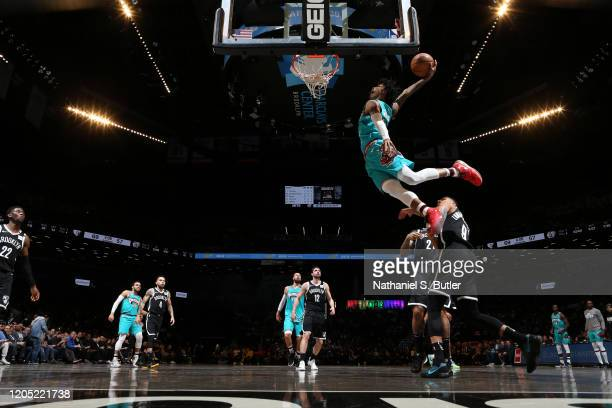 Ja Morant of the Memphis Grizzlies drives to the basket against the Brooklyn Nets on March 4, 2020 at Barclays Center in Brooklyn, New York. NOTE TO...