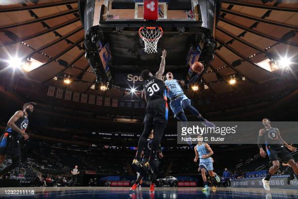 Ja Morant of the Memphis Grizzlies drives to the basket during the game against the New York Knicks on April 9, 2021 at Madison Square Garden in New...