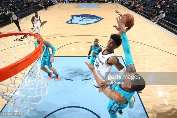 Ja Morant of the Memphis Grizzlies dunks the ball against the Charlotte Hornets during a preseason game on October 14 2019 at FedExForum in Memphis...