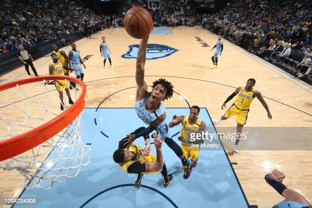 Ja Morant of the Memphis Grizzlies dunks the ball against the Los Angeles Lakers on February 29 2020 at FedExForum in Memphis Tennessee NOTE TO USER...