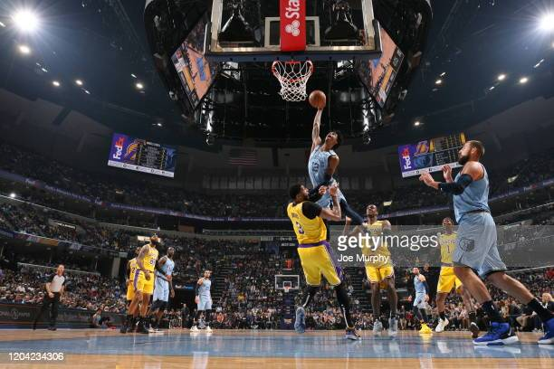 Ja Morant of the Memphis Grizzlies dunks the ball against the Los Angeles Lakers on February 29, 2020 at FedExForum in Memphis, Tennessee. NOTE TO...