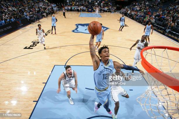 Ja Morant of the Memphis Grizzlies dunks the ball against the Brooklyn Nets on October 27 2019 at FedExForum in Memphis Tennessee NOTE TO USER User...