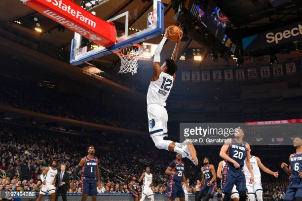 Ja Morant of the Memphis Grizzlies dunks the ball against the New York Knicks on January 29, 2020 at Madison Square Garden in New York City, New...