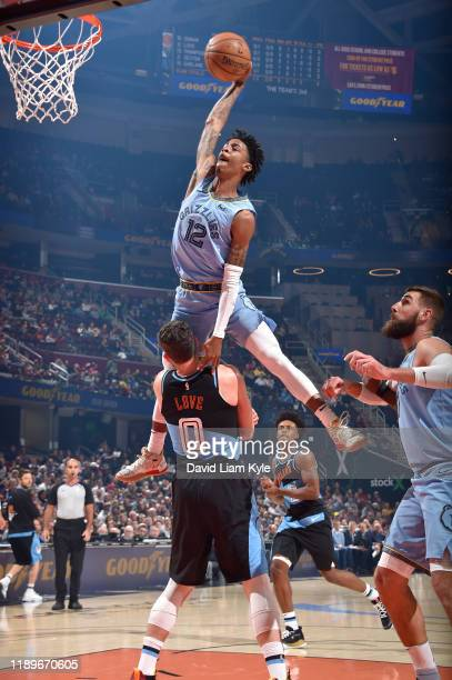 Ja Morant of the Memphis Grizzlies dunks the ball against the Cleveland Cavaliers on December 20 2019 at Rocket Mortgage FieldHouse in Cleveland Ohio...