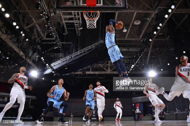 Ja Morant of the Memphis Grizzlies dunks the ball against the Portland Trail Blazers on July 31 2020 at The Arena at ESPN Wide World Of Sports...