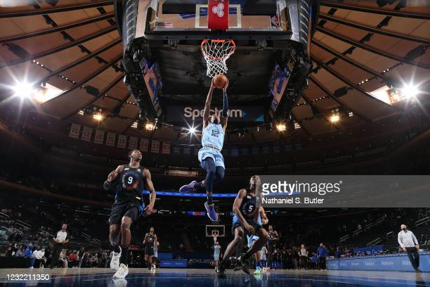 Ja Morant of the Memphis Grizzlies dunks the ball during the game against the New York Knicks on April 9, 2021 at Madison Square Garden in New York...