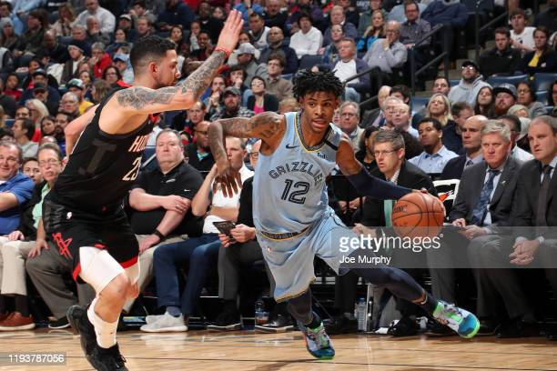 Ja Morant of the Memphis Grizzlies handles the ball against the Houston Rockets on January 14, 2020 at FedExForum in Memphis, Tennessee. NOTE TO...
