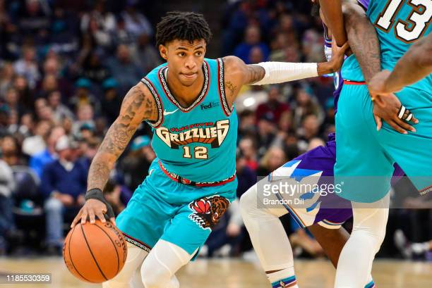 Ja Morant of the Memphis Grizzlies handles the ball against the Utah Jazz during the second half at FedExForum on November 29 2019 in Memphis...