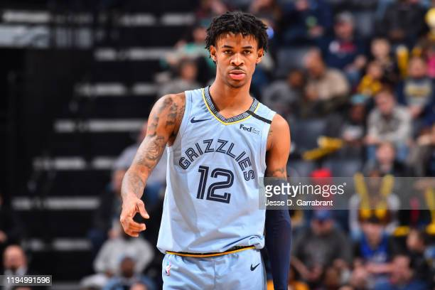 Ja Morant of the Memphis Grizzlies looks on during a game against the New Orleans Pelicans on January 20 2020 at FedExForum in Memphis Tennessee NOTE...