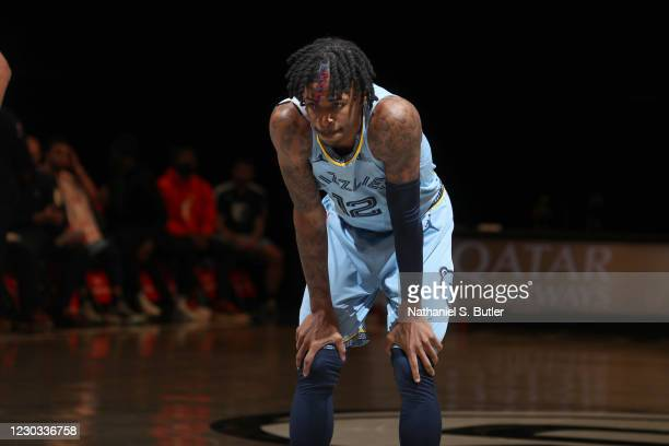 Ja Morant of the Memphis Grizzlies looks on during the game against the Brooklyn Nets on December 28, 2020 at Barclays Center in Brooklyn, New York....