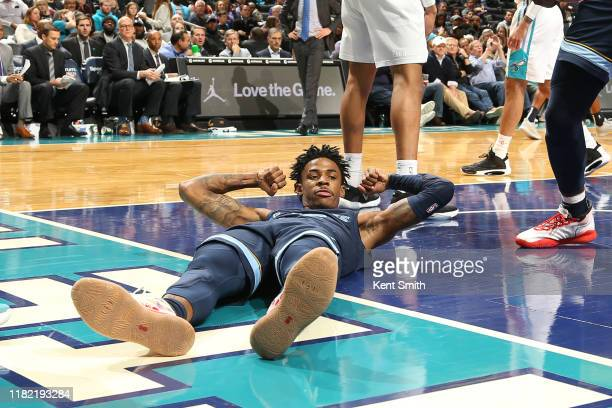 Ja Morant of the Memphis Grizzlies reacts during a game against the Charlotte Hornets on November 7 2019 at Spectrum Center in Charlotte North...