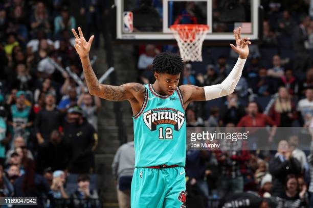 Ja Morant of the Memphis Grizzlies reacts to a play against the Miami Heat on December 16 2019 at FedExForum in Memphis Tennessee NOTE TO USER User...