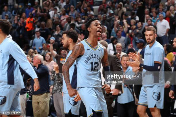 Ja Morant of the Memphis Grizzlies reacts to a play against the Brooklyn Nets on October 27 2019 at FedExForum in Memphis Tennessee NOTE TO USER User...