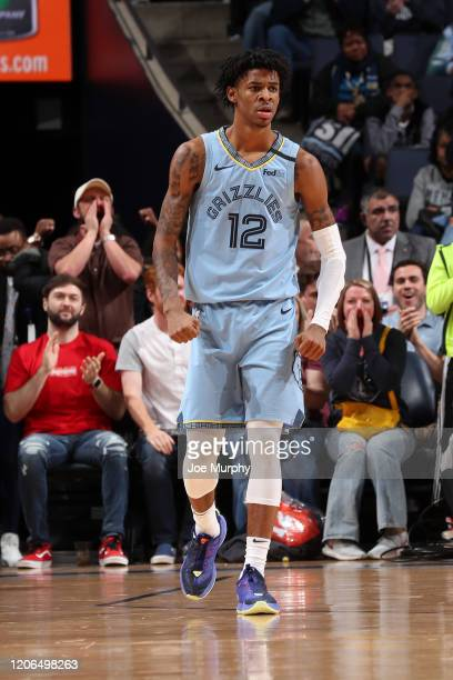 Ja Morant of the Memphis Grizzlies reacts to a play against the Orlando Magic on March 10, 2020 at FedExForum in Memphis, Tennessee. NOTE TO USER:...