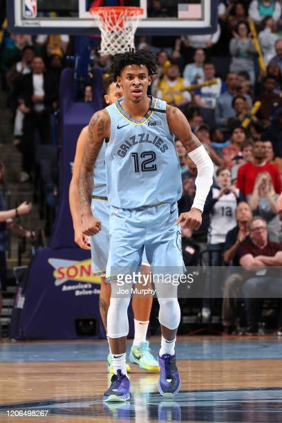 Ja Morant of the Memphis Grizzlies reacts to a play against the Orlando Magic on March 10 2020 at FedExForum in Memphis Tennessee NOTE TO USER User...