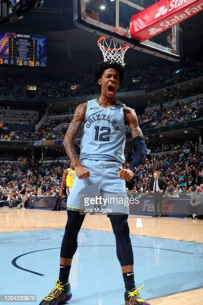 Ja Morant of the Memphis Grizzlies reacts to a play during the game against the Los Angeles Lakers on February 29 2020 at FedExForum in Memphis...